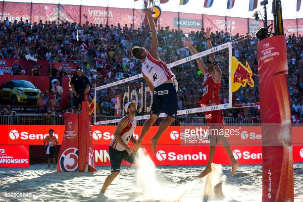 Bartosz Losiak of Poland in action during Day 9 of the FIVB Beach Volleyball World Championships 2017 on August 5 2017 in Vienna Austria