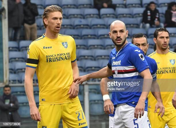 Bartosz Salamon of Frosinone Calcio and Riccardo Saponara of UC Sampdoria during the Serie A match between UC Sampdoria and Frosinone Calcio at...