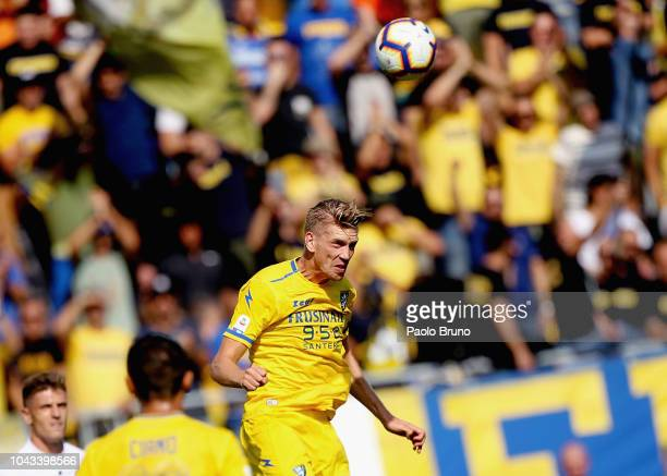 Bartosz Salamon of Frosinone Calcio in action during the Serie A match between Frosinone Calcio and Genoa CFC at Stadio Benito Stirpe on September 30...