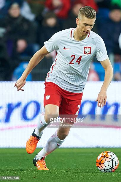 Bartosz Salamon of Poland controls the ball during the international friendly soccer match between Poland and Serbia at the Inea Stadium on March 23...