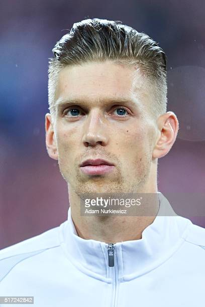 Bartosz Salamon of Poland looks while national anthem during the international friendly soccer match between Poland and Serbia at the Inea Stadium on...