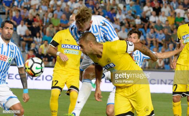 Bartosz Salamon of Spal competes with Danilo Larangeira of Udinese Calcio during the Serie A match between Spal and Udinese Calcio at Stadio Paolo...