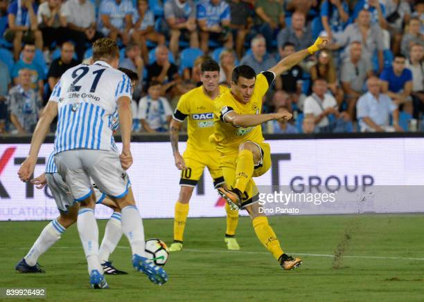 Bartosz Salamon of Spal competes with Kevin Lasagna of Udinese Calcio during the Serie A match between Spal and Udinese Calcio at Stadio Paolo Mazza...