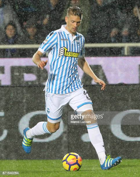 Bartosz Salamon of Spal in action during the Serie A match between Atalanta BC and Spal at Stadio Atleti Azzurri d'Italia on November 5 2017 in...