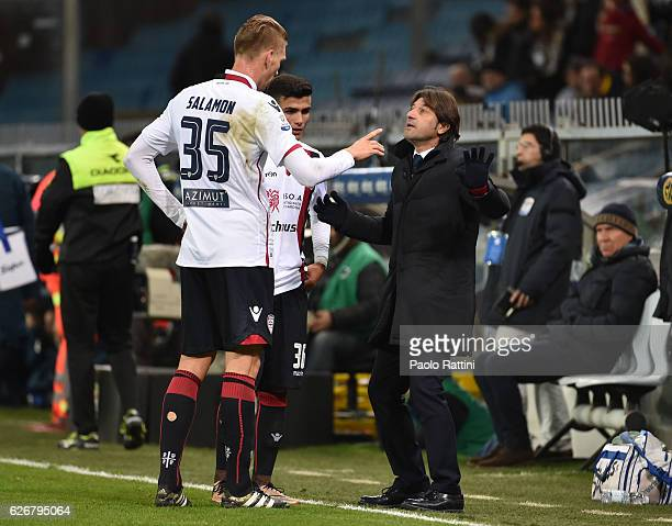 Bartosz SalamonAndrea Modesto and the head coach Massimo Rastelli of Cagliari during the TIM Cup match between UC Sampdoria and Cagliari Calcio at...