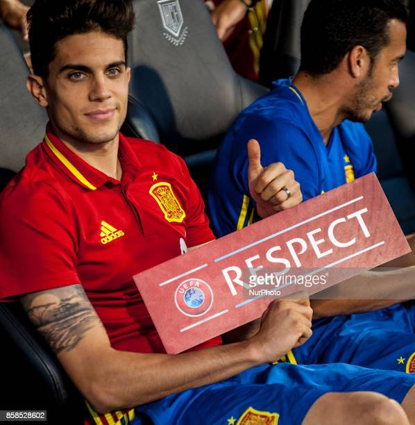Bartra with a respect poster during the qualifying match for the World Cup Russia 2018 between Spain and Albaniaat the Jose Rico Perez stadium in...