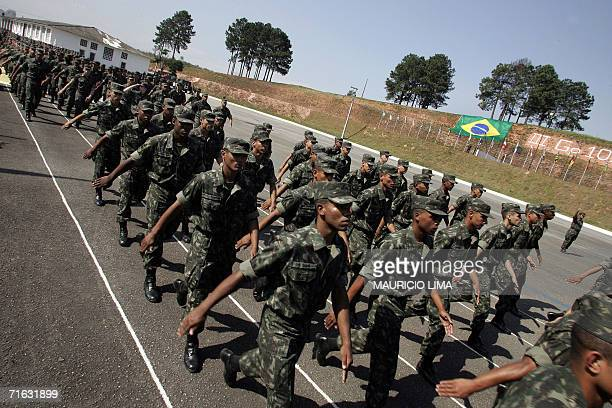 Brazilian Army troops of 20th Light Artillery Group parade during a ceremony with the Brazilian President Luiz Inacio Lula da Silva at an Army...