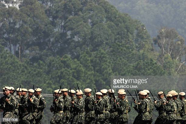 Brazilian Army troops of 20th Light Artillery Group parade during a ceremony with Brazilian President Luiz Inacio Lula da Silva at an Army...