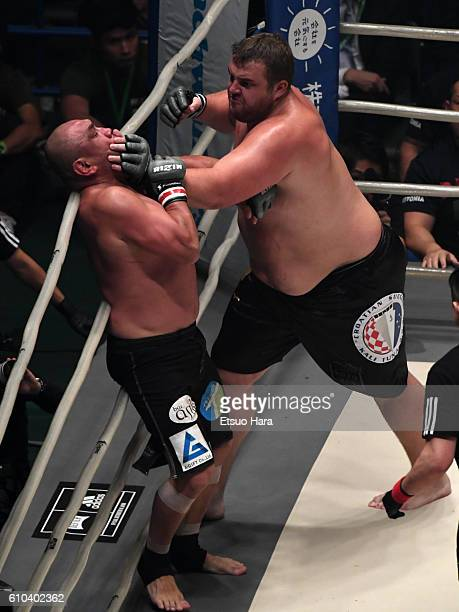Baruto of Estonia and Kazuyuki Fujita of Japan compete in the bout during the RIZIN Fighting World GP 2016 Open weight tournament 1st Round at the...