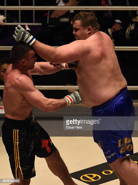 Baruto of Estonia and Peter Aerts of Netherlands compete in the bout Rizin Fighting World Grand Prix during the Rizin Iza Saltation at Saitama Super...