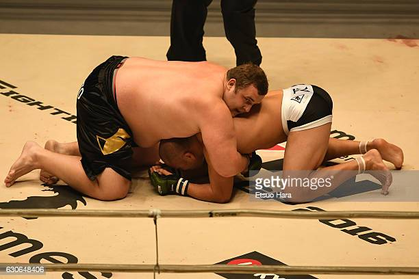 Baruto of Estonia and Tsuyoshi Kosaka of Japan compete in the bout during the RIZIN Fighting World GP 2016 second round at Saitama Super Arena on...
