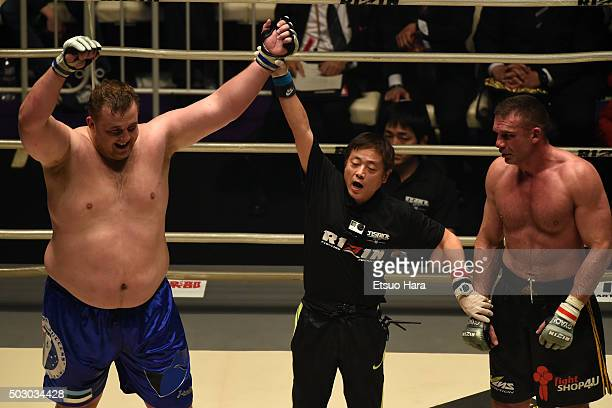 Baruto of Estonia celeblates his decision victory in the bout Rizin Fighting World Grand Prix against Peter Aerts of Netherlands during the Rizin Iza...