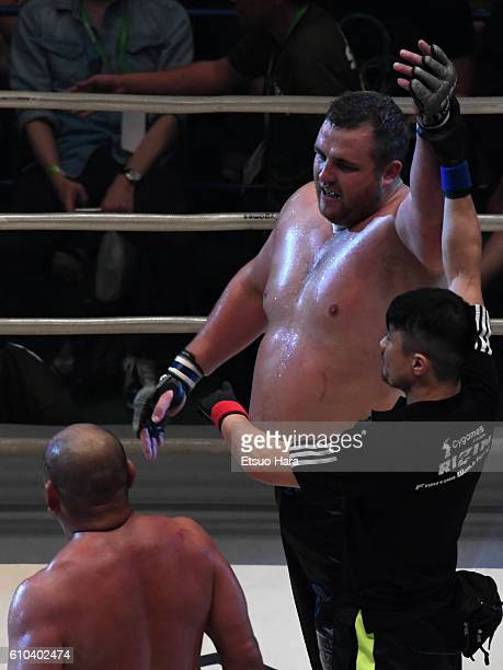 Baruto of Estonia celebrates his decision victory in the bout against Kazuyuki Fujita of Japan during the RIZIN Fighting World GP 2016 Open weight...