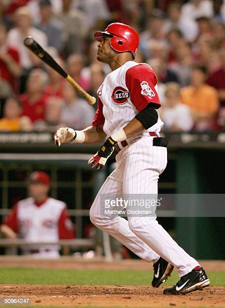 Bary Larkin of Cincinnati Reds strikes out against the Texas Rangers to end the ninth inning against the Cincinnati Reds on June 15 2004 at the Great...