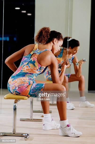 Baryshnikov's tropical print cotton or spandex biketard $65 Nike Air Elite Performance Low aerobis shoes $7495