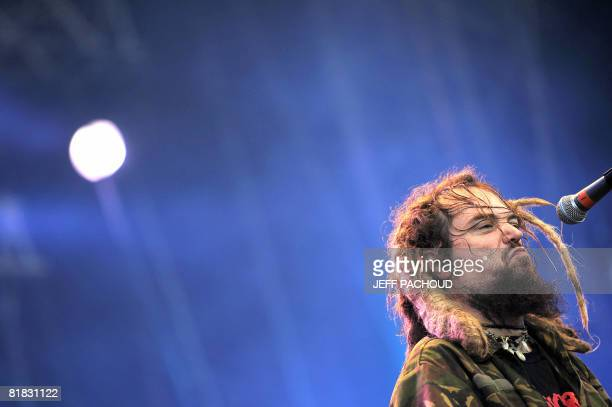 Barzilian artist Max Cavalera performs on stage with his band Cavalera Conspiracy on July 5 2008 in Belfort during the 20th Eurockeennes de Belfort...