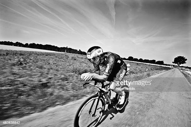 Bas Diederen of the Netherlands competes during the bike section of Ironman Limburg on August 2 2015 in Maastricht Netherlands Note to editors...