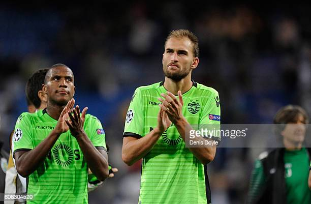 Bas Dost and Marvin Zeegelaar of Sporting Clube de Portugal applauds fans after losing 21 to Real Madrid CF during the UEFA Champions League Group F...