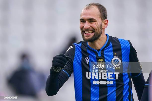 Bas Dost of Club Brugge celebrates the second goal of his team during the Pro League match between Club Brugge and Standard Luik at Jan Breydel...