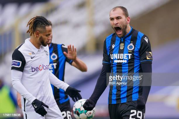 Bas Dost of Club Brugge celebrating his goal during the Pro League match between Club Brugge and KRC Genk at Jan Breydelstadion Stadium on January...