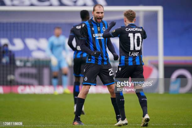 Bas Dost of Club Brugge celebrating his goal, Noa Lang of Club Brugge during the Pro League match between Club Brugge and KRC Genk at Jan...