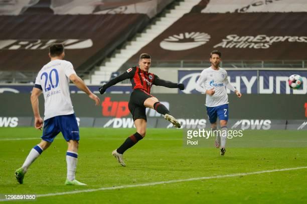 Bas Dost of Eintracht Frankfurt scores their side's second goal during the Bundesliga match between Eintracht Frankfurt and FC Schalke 04 at Deutsche...