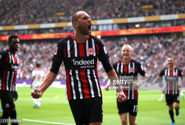 Bas Dost of Frankfurt celebrates after scoring his sides first goal during the Bundesliga match between Eintracht Frankfurt and Fortuna Duesseldorf...