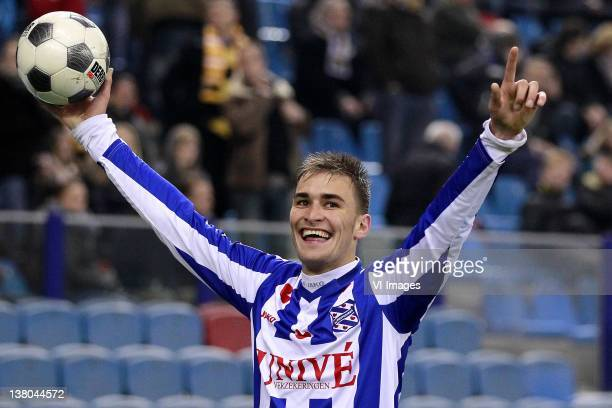 Bas Dost of Heerenveen celebrates during the Dutch Cup match between Vitesse Arnhem and SC Heerenven at the Gelredome Stadium on January 31 2012 in...