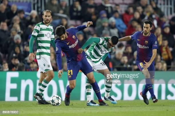 Bas Dost of Sporting Club de Portugal Andre Gomes of FC Barcelona Rodrigo Battaglia of Sporting Club de Portugal Sergio Busquets of FC Barcelona...