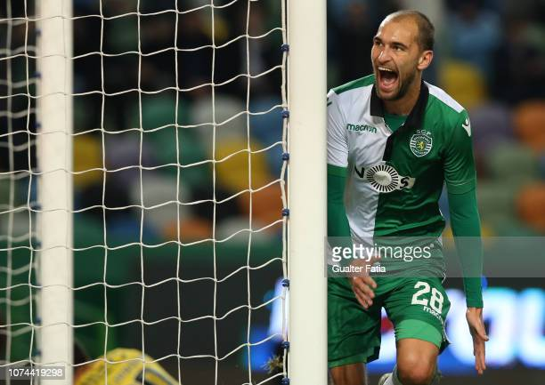 Bas Dost of Sporting CP celebrates after scoring a goal during the Portuguese Cup match between Sporting CP and Rio Ave FC at Estadio Jose Alvalade...