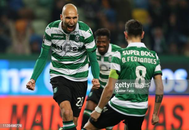 Bas Dost of Sporting CP celebrates after scoring a goal during the Liga NOS match between Sporting CP and SC Braga at Estadio Jose Alvalade on...
