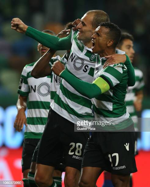 Bas Dost of Sporting CP celebrates with teammate Nani of Sporting CP after scoring a goal during the Liga NOS match between Sporting CP and GD Chaves...