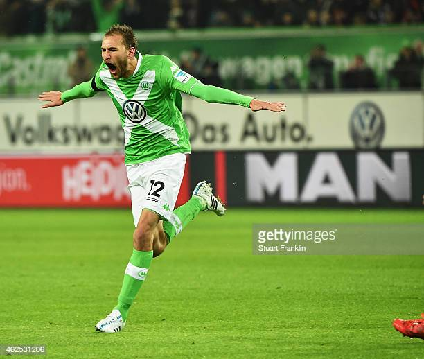 Bas Dost of Wolfsburg celebrate scoring his second goal during the Bundesliga match between VfL Wolfsburg and FC Bayern Muenchen at Volkswagen Arena...