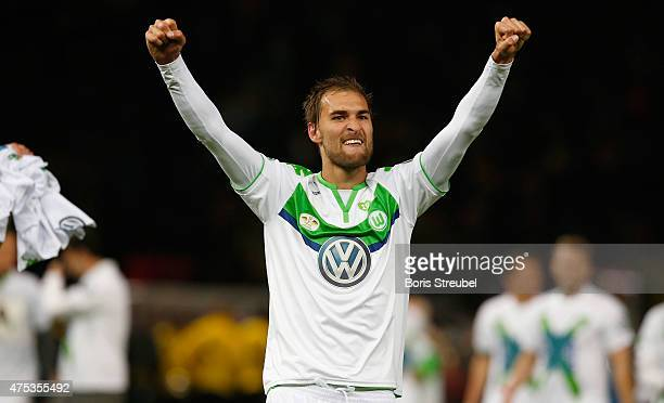 Bas Dost of Wolfsburg celebrates after winning the DFB Cup Final match between Borussia Dortmund and VfL Wolfsburg at Olympiastadion on May 30 2015...