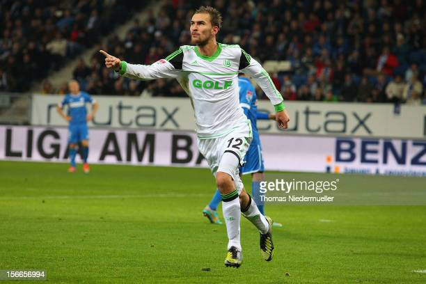 Bas Dost of Wolfsburg celebrates his goal during the Bundesliga match between TSG 1899 Hoffenheim and VfL Wolfsburg at RheinNeckarArena on November...
