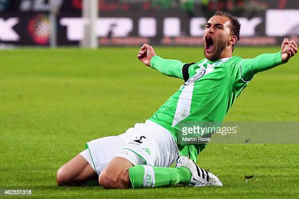 Bas Dost of Wolfsburg celebrates his team's second goal during the Bundesliga match between VfL Wolfsburg and FC Bayern Muenchen at Volkswagen Arena...