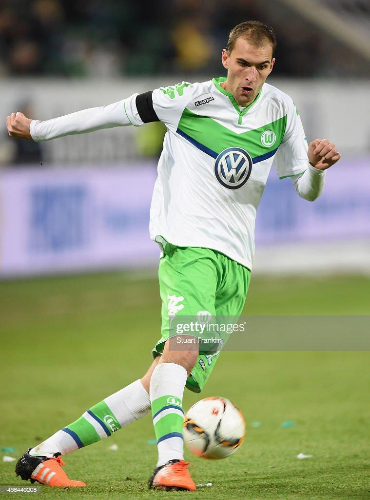 Bas Dost of Wolfsburg in action during the Bundesliga match between VfL Wolfsburg and Werder Bremen at Volkswagen Arena on November 21, 2015 in Wolfsburg, Germany.