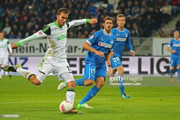 Bas Dost of Wolfsburg scores during the Bundesliga match between TSG 1899 Hoffenheim and VfL Wolfsburg at RheinNeckarArena on November 18 2012 in...