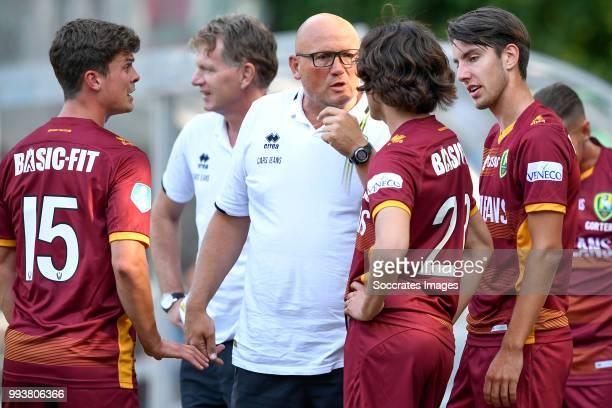 Bas Kuipers of ADO Den Haag coach Alfons Groenendijk of ADO Den Haag assistant coach Dirk Heesen of ADO Den Haag Mats van Kins of ADO Den Haag...