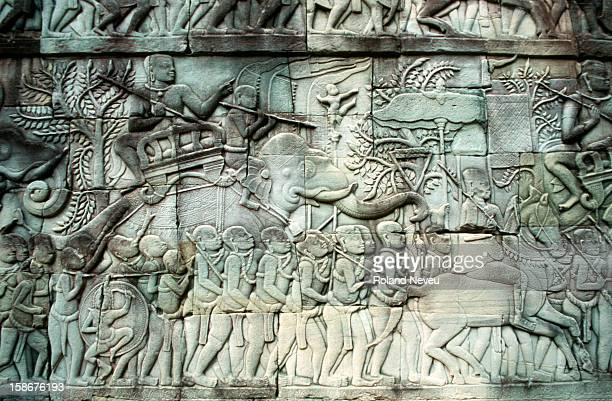 Bas relief at the Bayon temple in Angkor Wat. This scene depicts an army on the move..