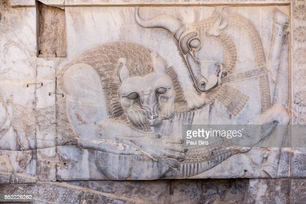 bas relief carving of lion hunting a bull in persepolis, shiraz, fars province, iran. - bas relief stock pictures, royalty-free photos & images