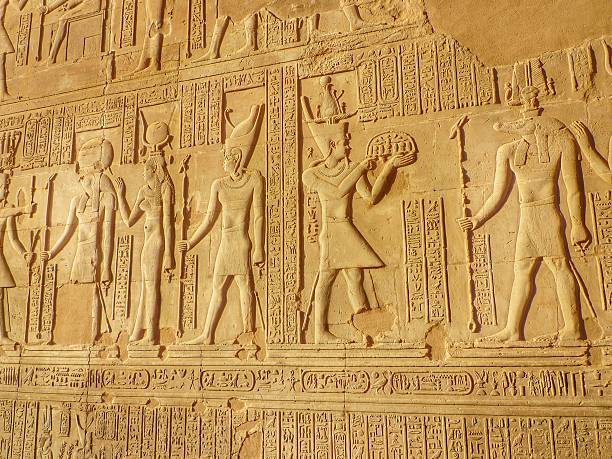 Bas Relief Figures And Hieroglyphics On The Wall Of A Temple Wall Art