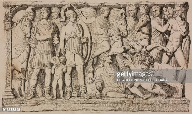 Bas relief from the Roman tomb of Flavius Jovinus Reims France engraving by Lemaitre from France premiere partie L'Univers pittoresque published by...