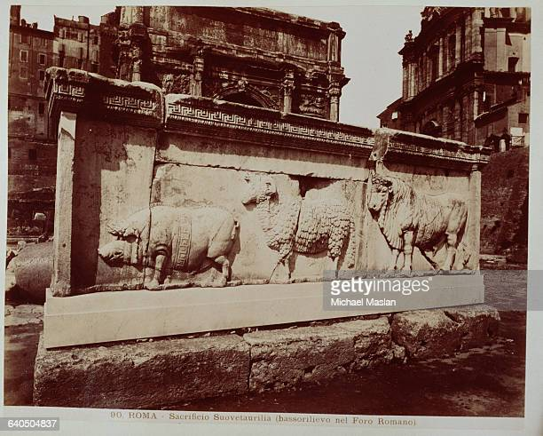 A bas relief of animals which were sacrificed at the ancient Roman Suovetaurilia including a boar a ram and a bull on a wall in the Roman Forum...