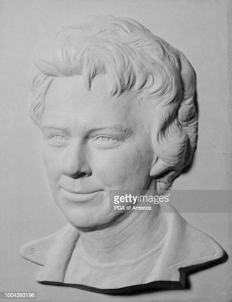 A bas relief of Mickey Wright