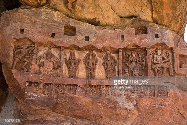 Bas relief of Varaha , Ganesha, Brahma, Shiva, Vishnu, Mahishasuramardini and Ukkra Narasimha on the cave temple in Badami, Karnataka, India.