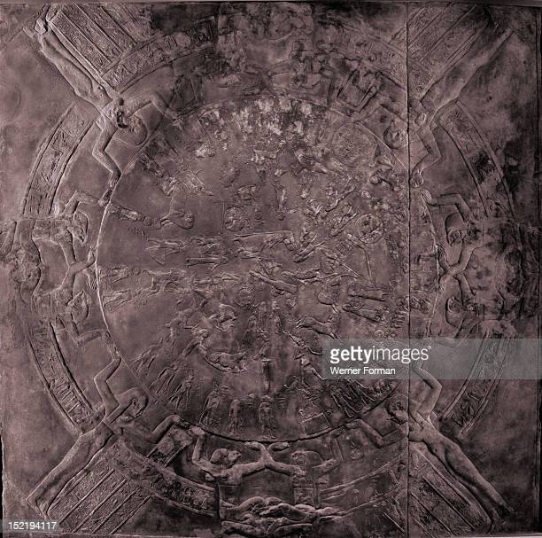 Bas relief representing a night skyscape from the ceiling of one of the chapels where the resurrection of Osiris was commemorated Known as the Zodiac...