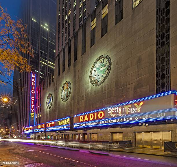 Bas relief sculptures on the side of Radio City Music Hall