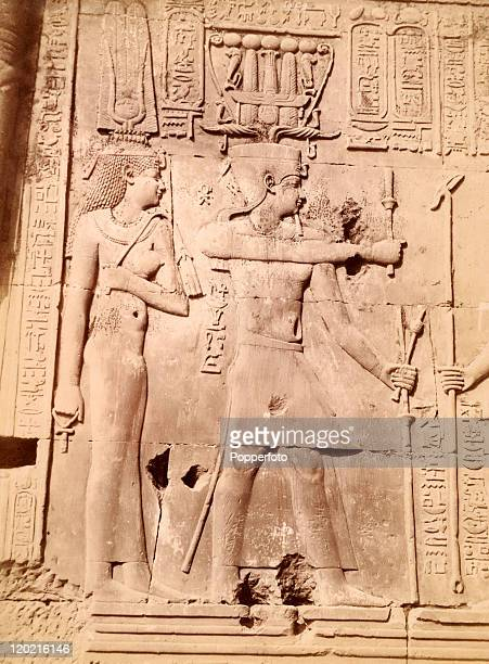 A bas relief showing Ptolemy and Cleopatra at the Temple of Kom Ombo on the banks of the River Nile Egypt circa 1890