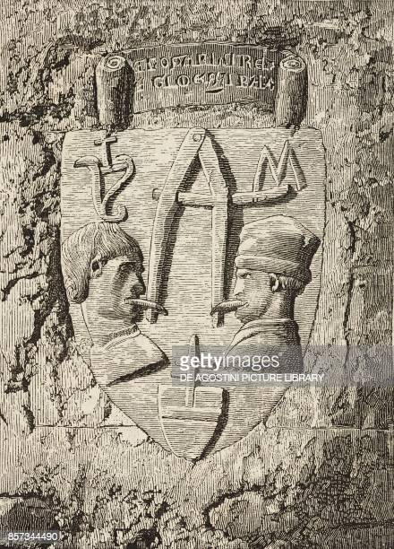Bas relief with warning inscription 'Use your words wisely' Teramo Abruzzo Italy woodcat from Le cento citta d'Italia illustrated monthly Supplement...